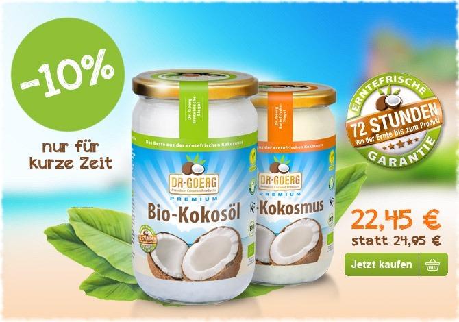 - 10 % auf Bio-Kokosöl und -Kokosmus (1 l)