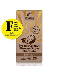 Cioccolato ai fiori di cocco Bio con nocciole, cacao 72%