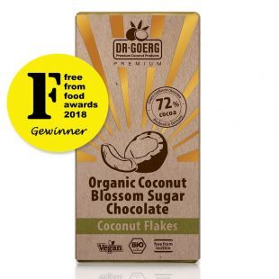 Chocolate made with premium organic coconut blossom with coconut flakes, 72% Cocoa