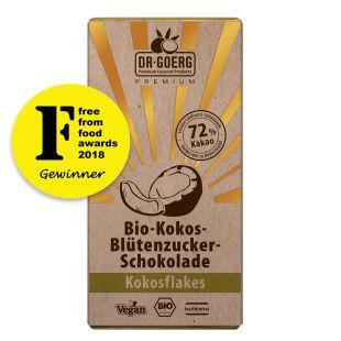 Premium Bio-Kokos-Blütenzucker-Schokolade, Kokosflakes 40 g