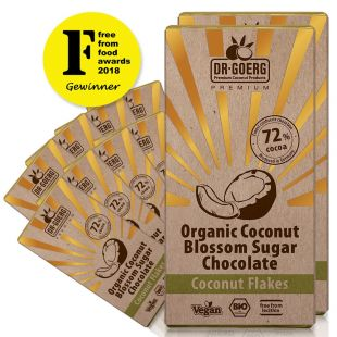 Chocolate made with premium organic coconut blossom with coconut flakes, 72% Cocoa (12 units)