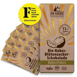 Premium Bio-Kokosblütenzucker-Schokolade, Flakes, 72% Kakao, 12Stück