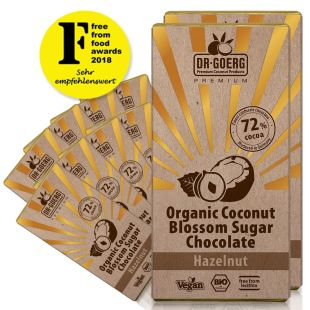 Chocolate made with premium organic coconut blossom with chopped hazelnuts, 72% cocoa (12 units)