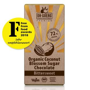 Chocolate made with organic coconut blossom sugar, 72% cocoa