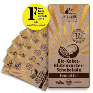 Premium Bio-Kokosblütenzucker-Schokolade, Feinbitter, 72% Kakao, 12 Stück