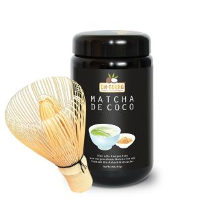 Matcha de Coco, 250 g in purple-colored jar + Bamboo Whisk