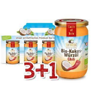 Bio-Kokos-Würzöl Chili Sparpaket 3+1