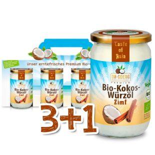 Bio- Kokos-Würzöl Zimt Sparpaket 3+1
