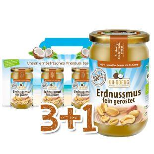 Premium Bio-Erdnussmus Sparpaket 3+1