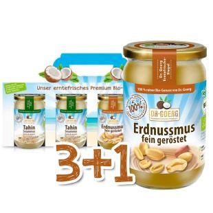Premium-Bio-Erdnussmus & Tahin Sparpaket 3+1