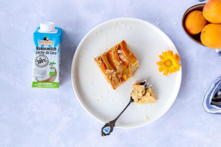 Lowcarb Kokos-Aprikosen-Kuchen mit Cheesecake-Topping