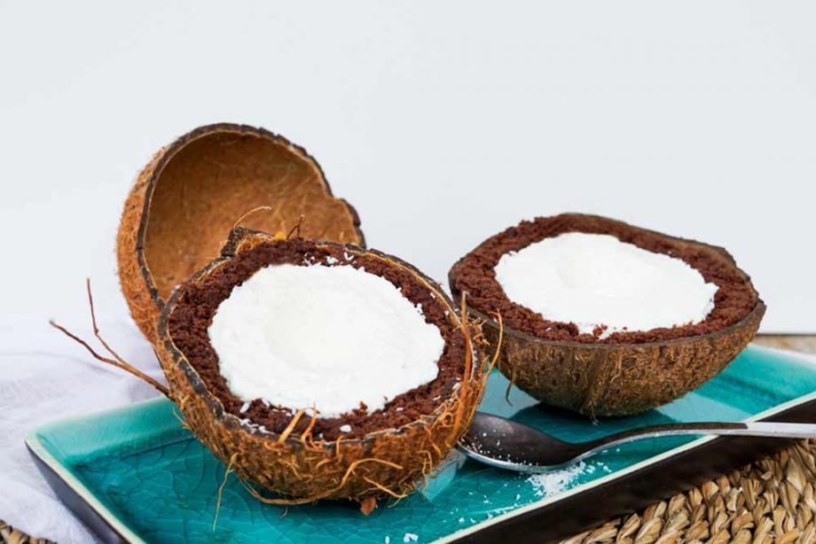 Kokos-Torte mit Schoko-Biskuit-Teig