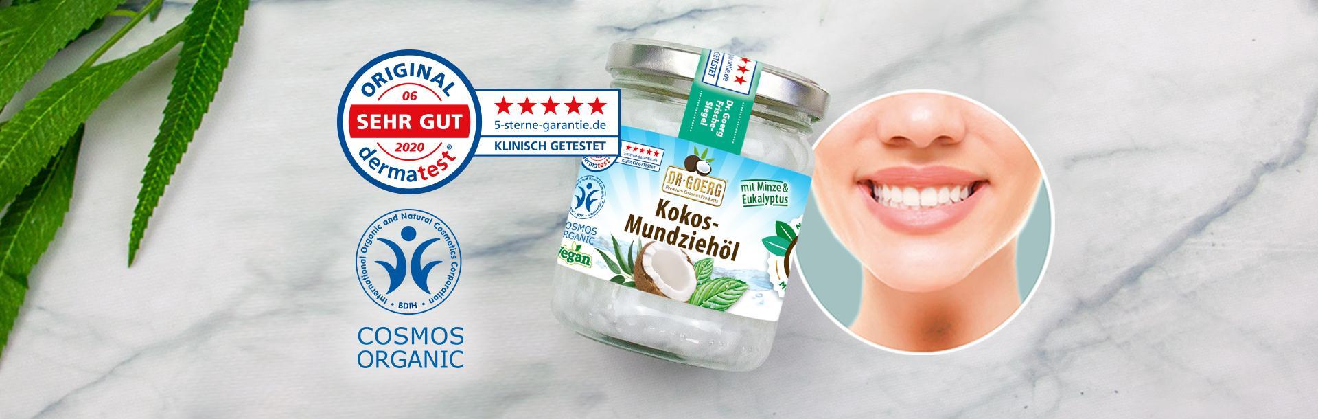 """Dermatest-Urteil """"Sehr Gut"""" (06/2020) für das Premium Bio-Kokos-Mundziehöl"""
