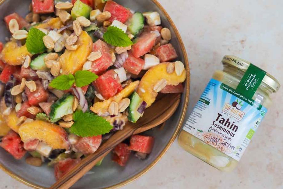 Wassermelone-Feta-Salat mit Tahin
