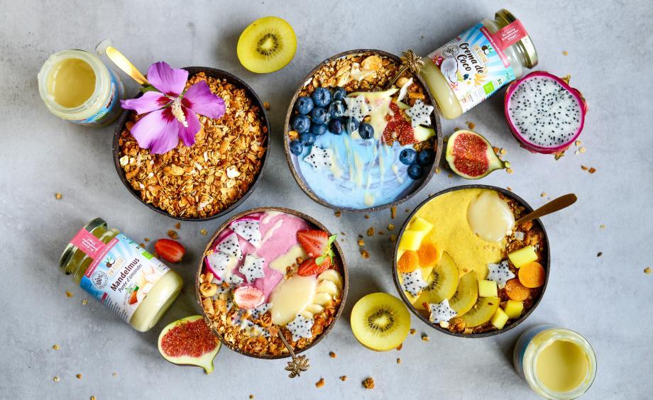 Bunte Smoothie-Bowls in 3 Frucht-Varianten mit Granola