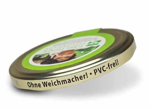 steckt in schadstofffreien Verpackungen (z.B. Gläser mit PVC-freiem Deckel)