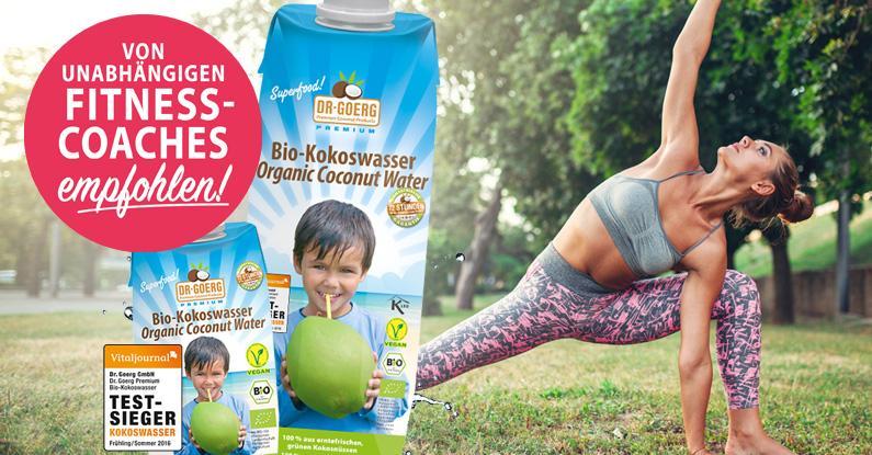 Von Fitnesstrainern empfohlen: Premium Bio-Kokoswasser