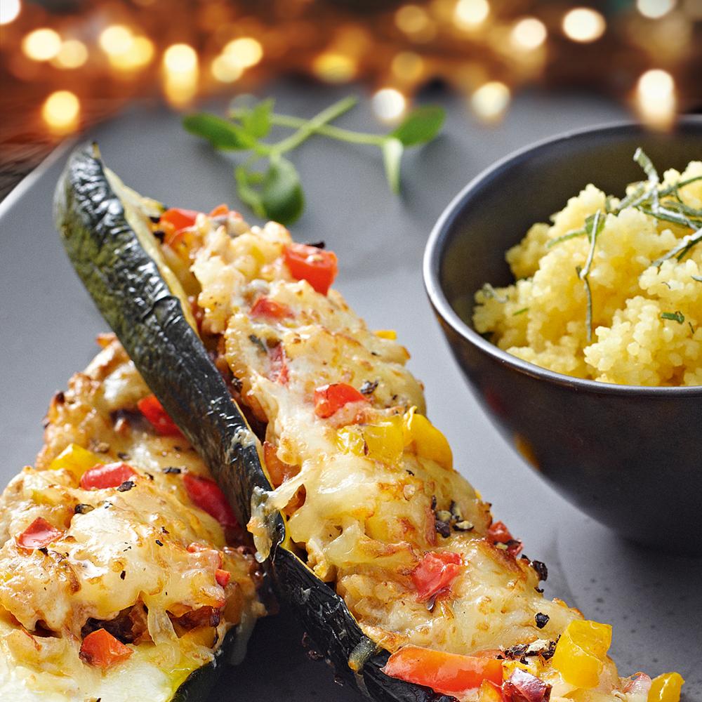 Gefüllte Zucchini mit Kokos-Couscous
