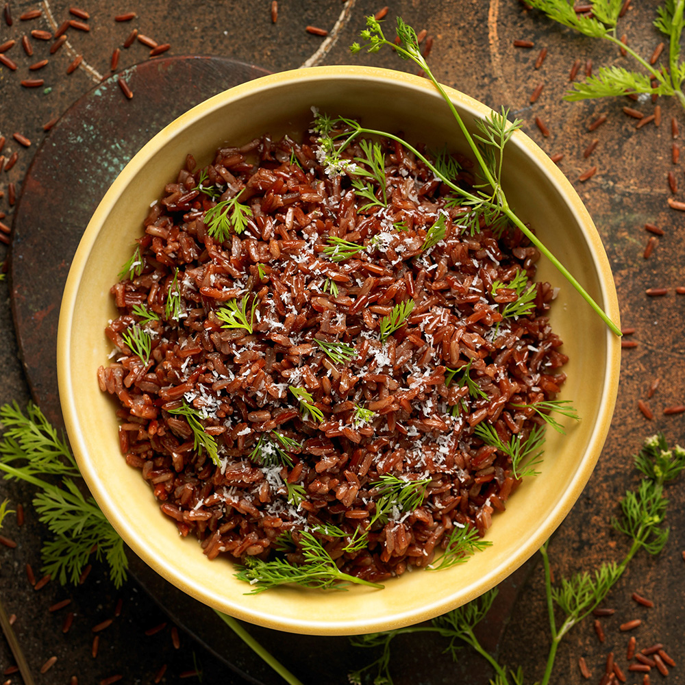 Roter Reis mit Kokos und Koriander